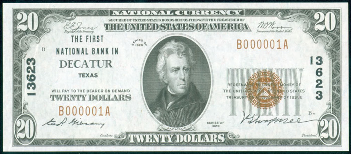 First National Bank in Decatur National Currency Bank Note Dollar Bill