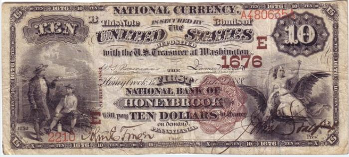 First National Bank of Honeybrook National Currency Bank Note Dollar Bill