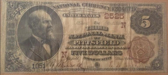 Third National Bank of Pittsfield National Currency Bank Note Dollar Bill