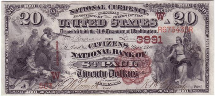 Citizens National Bank of Saint Paul National Currency Bank Note Dollar Bill