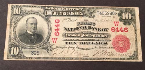 First National Bank of Wessington Springs National Currency Bank Note Dollar Bill