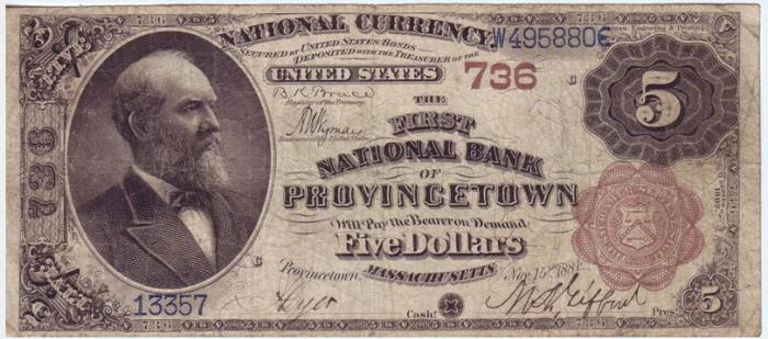 First National Bank of Provincetown National Currency Bank Note Dollar Bill