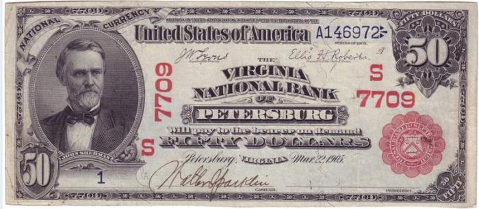 Virginia National Bank of Petersburg National Currency Bank Note Dollar Bill