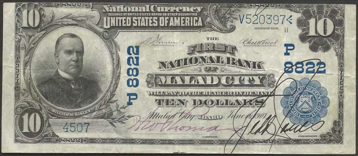 First National Bank of Malad City National Currency Bank Note Dollar Bill