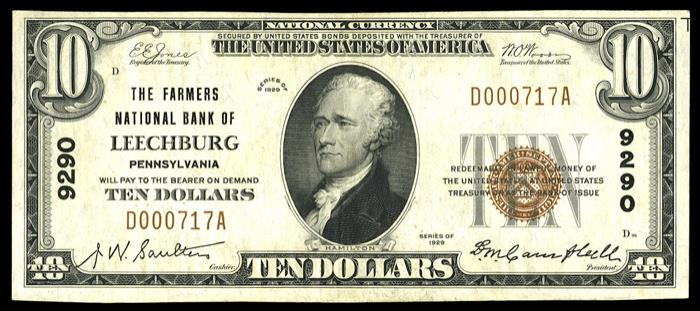 Farmers National Bank of Leechburg National Currency Bank Note Dollar Bill