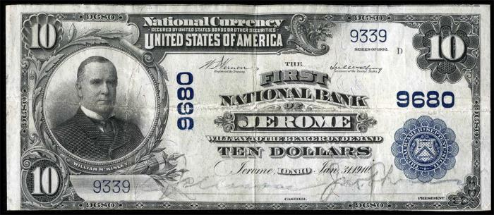 First National Bank of Jerome National Currency Bank Note Dollar Bill