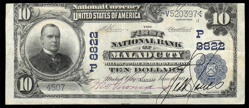 1902 $5.00 National Bank Note Blue Seal