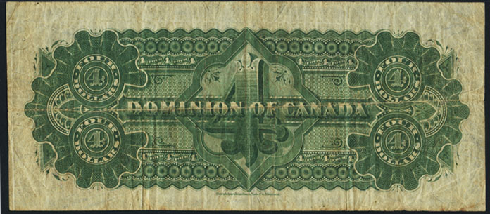 Dominion of Canada 1882 $4.00 Bill Reverse