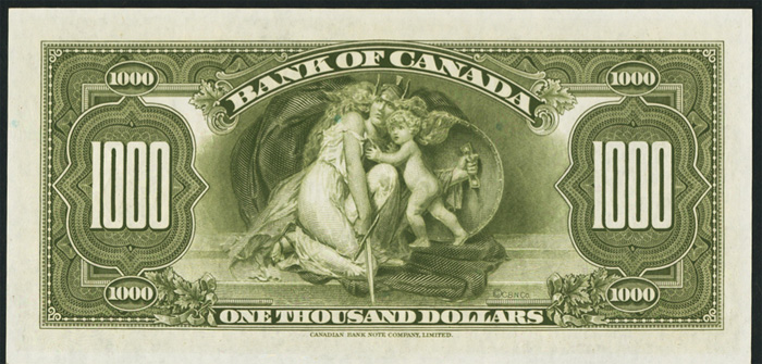 Bank of Canada 1935 $1000 Reverse