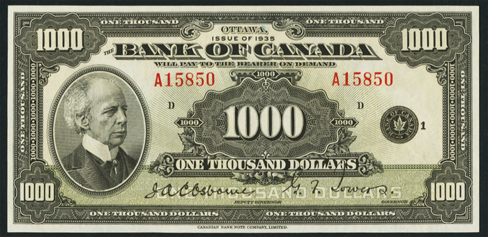 Bank of Canada 1935 $1000