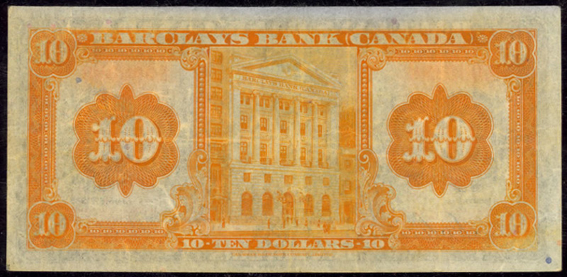Barclays Bank of Canada 1935 $10.00 Reverse