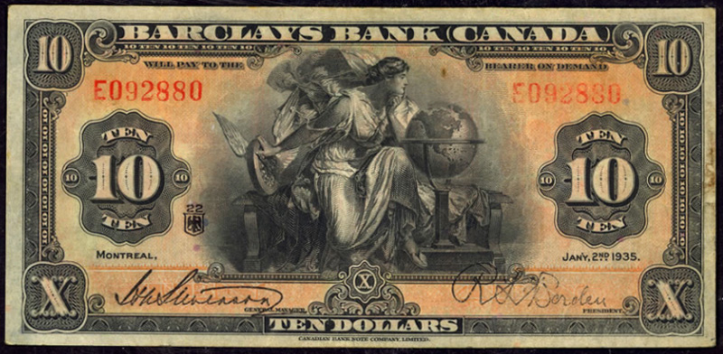 Barclays Bank Of Canada 1935 Ten Dollar Bill Value