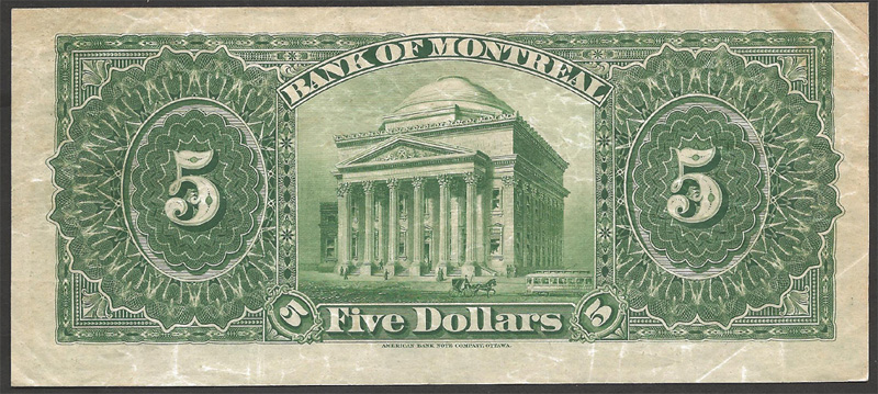 Bank of Montreal 1912 $5.00 Reverse