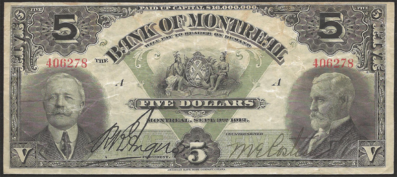 Bank of Montreal 1912 $5.00