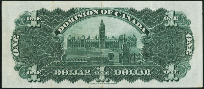 Dominion of Canada 1898 $1.00 Bill Reverse