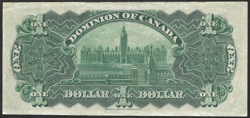 Dominion of Canada 1911 $1.00 Bill Reverse