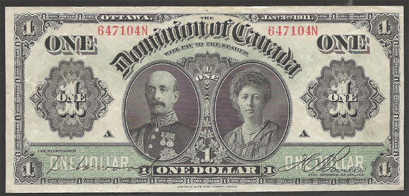 Dominion of Canada 1911 $1.00 Bill