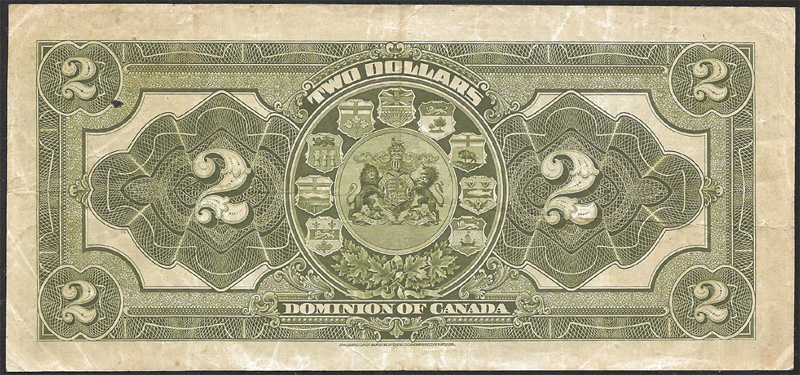 Dominion of Canada 1914 $2.00 Bill Reverse