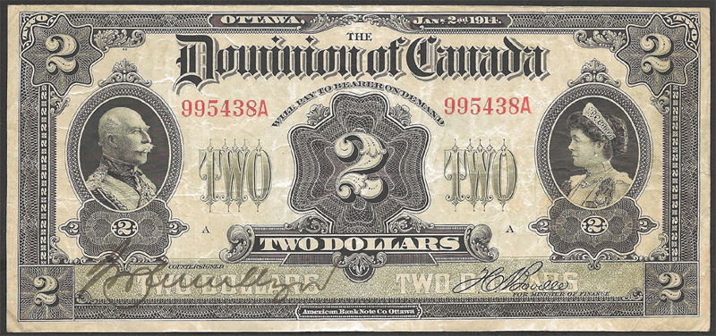 Dominion of Canada 1914 $2.00 Bill