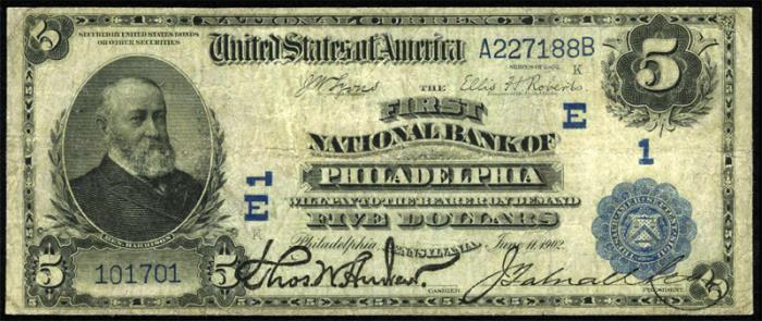 First National Bank of Philadelphia National Currency dollar bill
