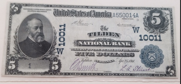 Tilden National Bank, Tilden National Currency dollar bill