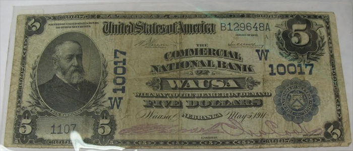 Commercial National Bank of Wausa National Currency dollar bill