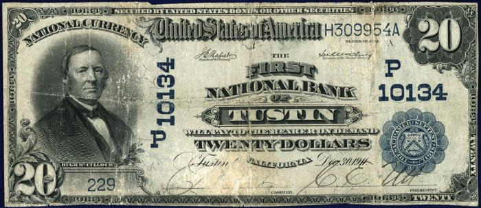 First National Bank of Tustin National Currency dollar bill