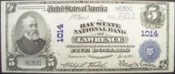 Bay State National Bank of Lawrence National Currency dollar bill