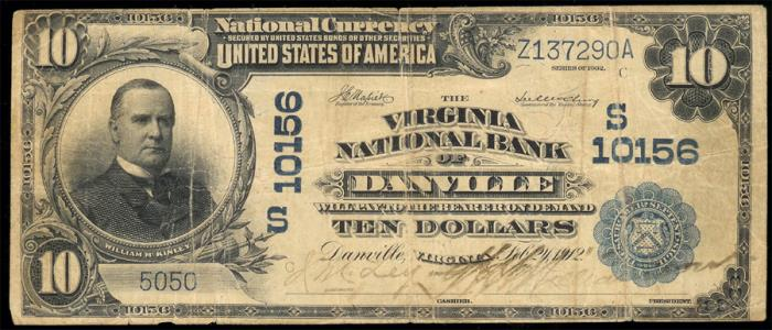 Virginia National Bank of Danville National Currency Bank Note Dollar Bill
