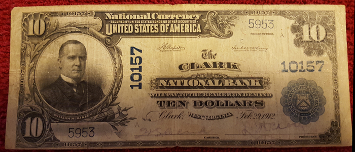 Clark National Bank, Clark National Currency dollar bill