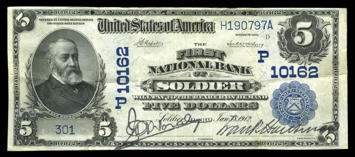 First National Bank of Soldier National Currency dollar bill