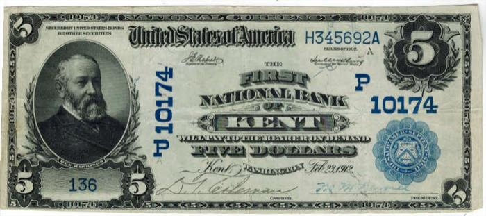 First National Bank of Kent National Currency dollar bill