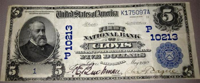 First National Bank of Clovis National Currency dollar bill