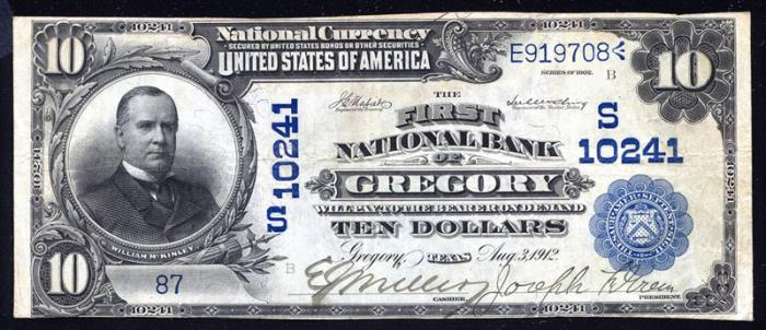 First National Bank of Gregory (10241) Ten Dollar Bill Series 1902 Blue Seal