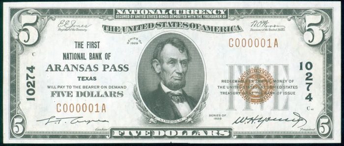 First National Bank of Aransas Pass National Currency dollar bill