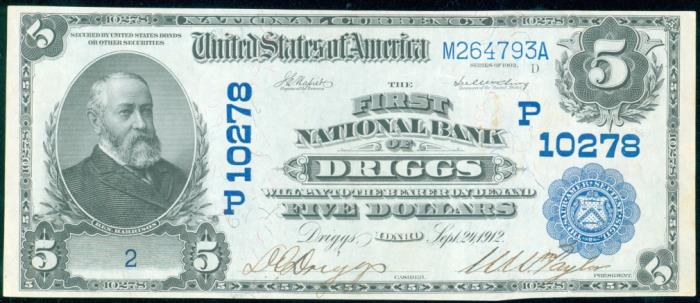 First National Bank of Driggs (10278) Five Dollar Bill Series 1902 Blue Seal
