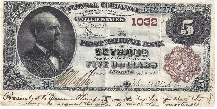 First National Bank of Seymour National Currency dollar bill