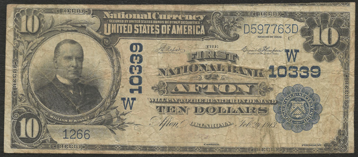 First National Bank of Afton National Currency dollar bill