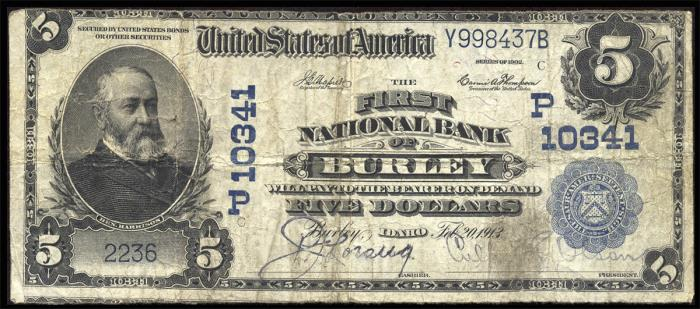 First National Bank of Burley National Currency dollar bill