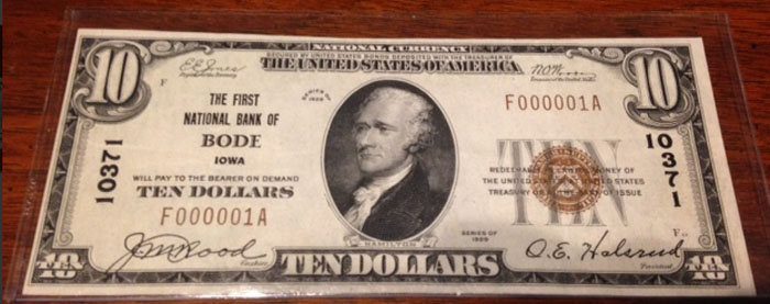 First National Bank, Bode National Currency dollar bill