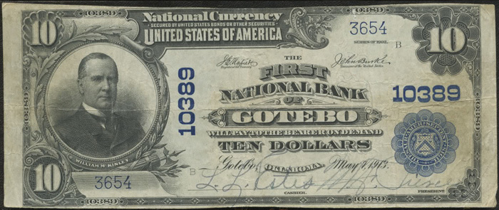 First National Bank of Gotebo National Currency dollar bill