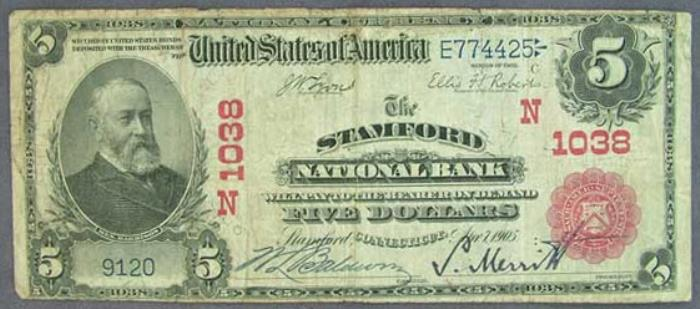 Stamford National Bank, Stamford (1038) Five Dollar Bill Series 1902 Red Seal