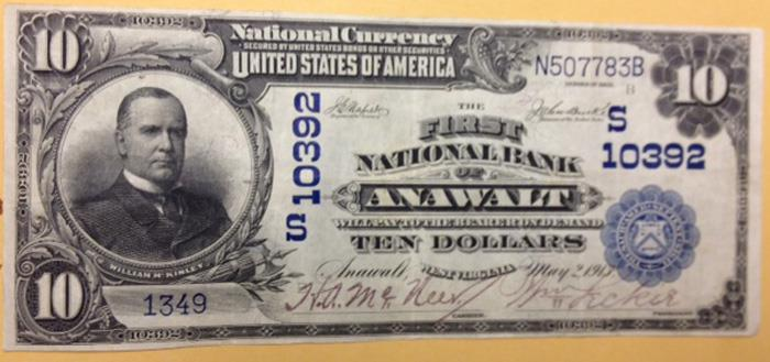 First National Bank of Anawalt National Currency dollar bill
