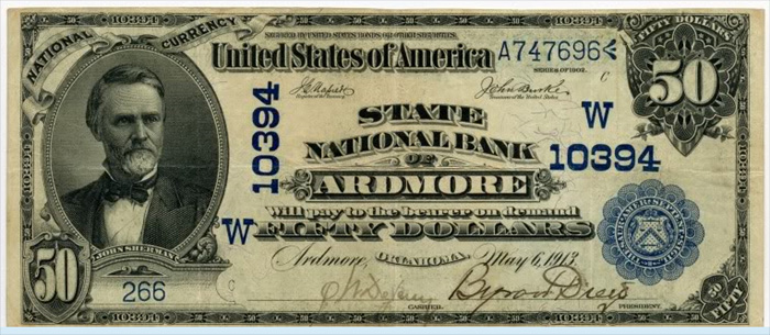 State National Bank of Ardmore National Currency dollar bill