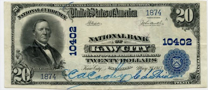 National Bank of Kaw City National Currency dollar bill