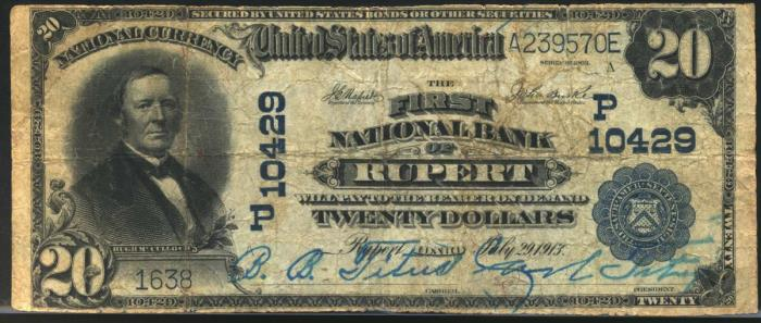 First National Bank of Rupert National Currency dollar bill