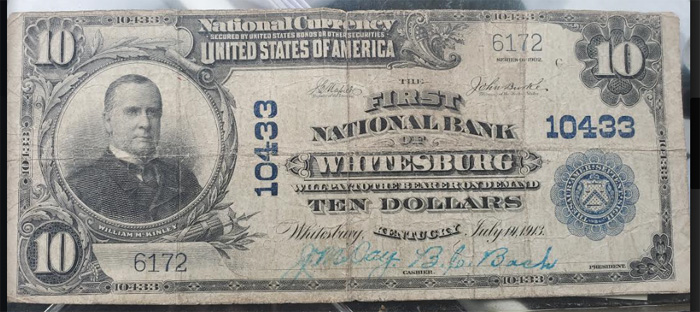 First National Bank of Whitesburg National Currency dollar bill