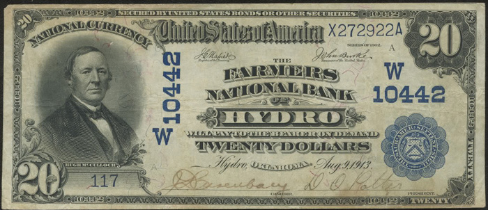Farmers National Bank of Hydro (10442) Twenty Dollar Bill Series 1902 Blue Seal