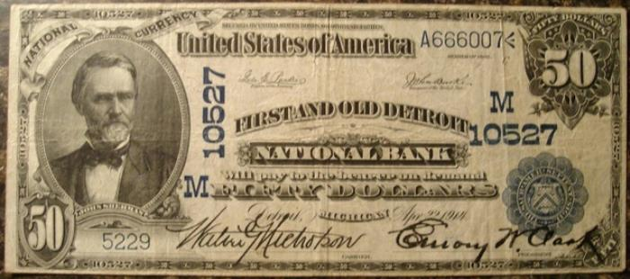 First Wayne National Bank of Detroit National Currency dollar bill