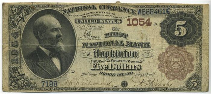 First National Bank of Hopkinton National Currency dollar bill